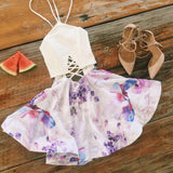 Criss Cross Backless Floral Flare Mini Dress