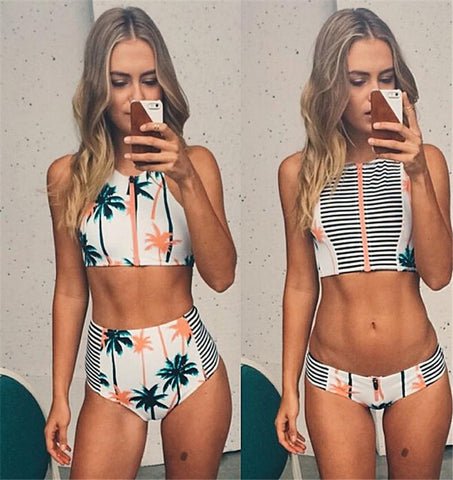 High Elasticity Palm Tree Printed Stripe High Waist Two Piece Swimwear Swimsuit
