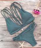 Olive Green Strappy Back Bikini Suits