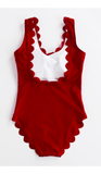 Red Scalloped Open Back One-Piece Swimsuits