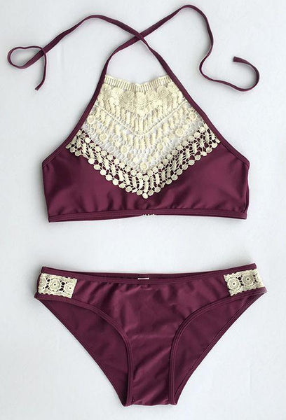 Burgundy Crochet Lace Yoke Bikini Sets