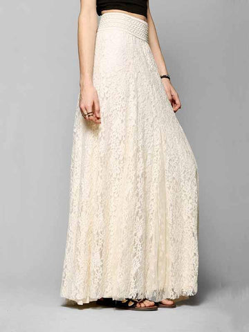 Beige High Waist Lace Maxi Skirt