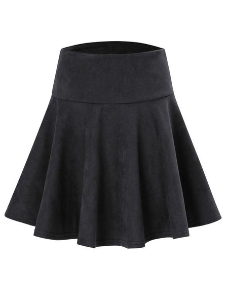 Black High Waist Skater Skirt