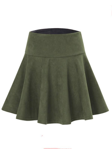 Army Green High Waist Skater Skirt