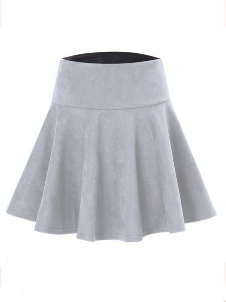 Gray High Waist Skater Skirt