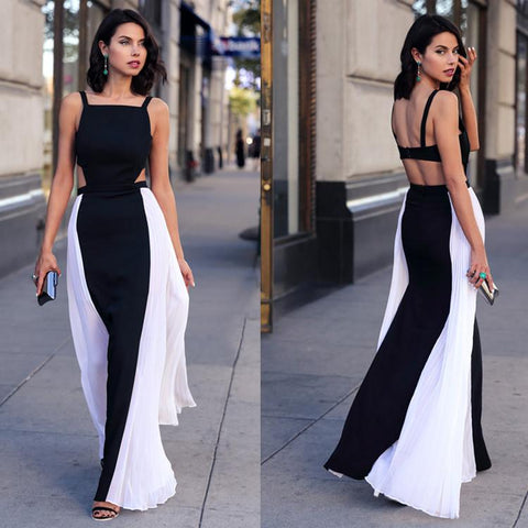 Backless Hollow Out Patchwork Maxi Chiffon Long Dress