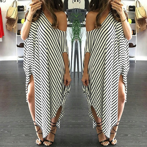 Loose One Shoulder Bat-wing Sleeve Stripe Irregular Plus Size Dress