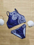 Blue Tribe Pattern Cropped Bikini Top And Bottom