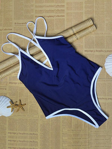 Blue Strap Cross One-piece Swimsuit