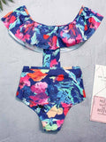 Polychrome Off Shoulder Print Detail Bikini Top And Bottom
