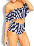 Blue Stripe Off Shoulder Bikini Top And Bottom Bikini Set