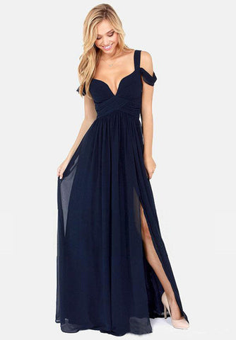 Elegant V Neck Sleeveless Split Maxi Prom Dress