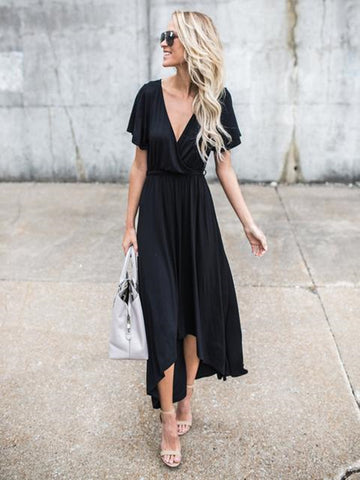 Women's V Neck Short Sleeve High Low Maxi Dress