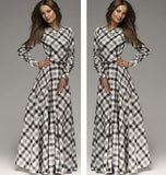 A-line Plaid Long Sleeves Long Party Dress