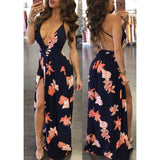Spaghetti Straps Backless Print Split Long Party Dress