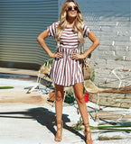 Fashion Casual Striped Loose Short Sleeve Round Neck Dress