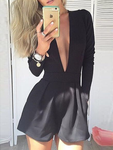 Black Sexy V Neck Long Sleeve Romper