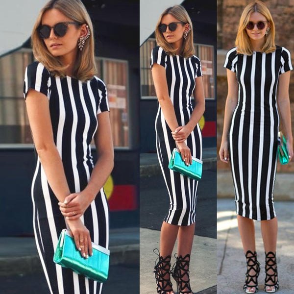 Skinny Striped Printed Short Sleeve Bodycon Dress