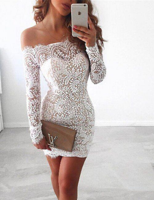 c6db80679a Off Shoulder Long Sleeve Lace Tight Homecoming Dresses – risechic.com