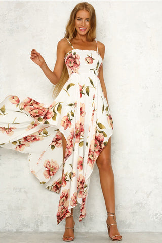 Irregular Floral Printed Spaghetti Strap Square Neck Women Maxi Dress