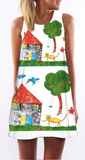Cartoon Tree House Print Sleeveless Shift Dress