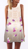Violet Floral Print Sleeveless Shift Dress