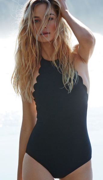 Black Scalloped Edge One-Piece Swimsuits