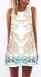Spring Floral Print Sleeveless Shift Dress