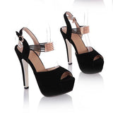Shinning Rhinestone Open Toe Stiletto Pumps High Heel Sandals