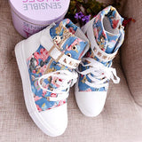 Cute Floral Print Skull Lace Up High Cut Women Sneakers