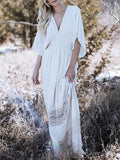 White Plunge Open Back Batwing Sleeve Maxi Dress