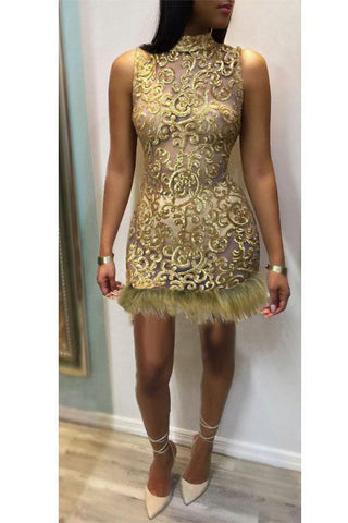 Sequins Faux Fur Decoration Transparent Short Dresses