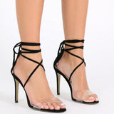 Ankle Straps Wraps Transparent Open Toe Stiletto Heels High Sandals