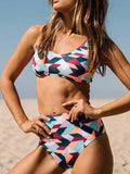 Tankini Polychrome Geo Pattern Cropped Bikini Top And High Waist Bottom