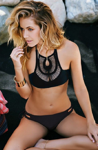 Black Sheer Striped Yoke Halter Bikini Sets