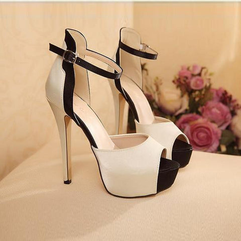 Nude Peep Toe Ankle Strap Stiletto High Heels Sandals