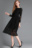 Pure Color Long Sleeves Lace Tee-length Party Dress