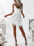 Sexy V Neck Lace Up Back Scallop Hem Lace Cami Dress