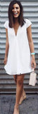 Sexy Pure Color V-neck Loose Plus Size Short Dress