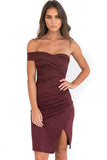 Pure Color Strapless Irregular Sleeveless Split Knee-length Dress