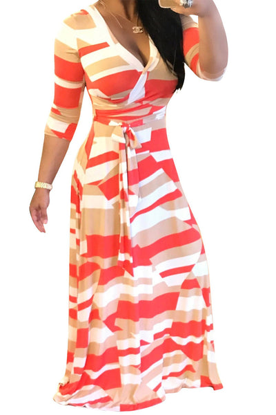 Print Straps Half Sleeves Long Loose Dress