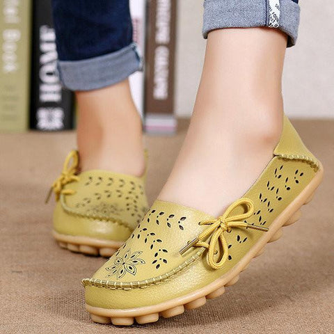 Big Size Candy Color Hollow Out Flat Lace Up Soft Leather Shoes