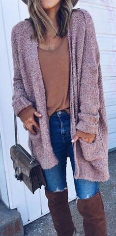 Comfy Dusty Pink Open Front Oversized Cardigan