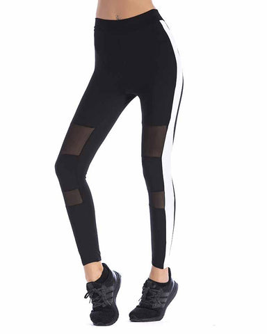 Black Mesh Contrast Striped Side Zip Pocket Back Leggings