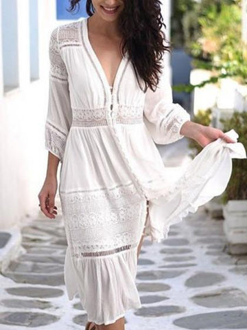 White Plunge V-neck Lace Panel Long Sleeve MidiDress