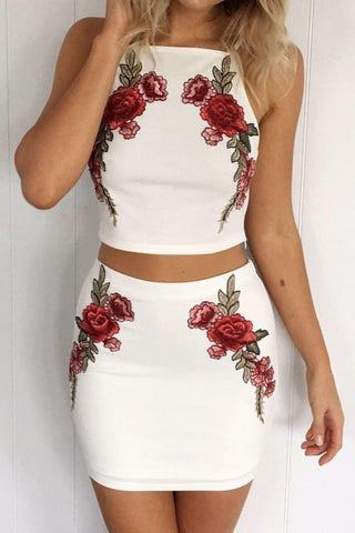 Flower Embroidery Crop Top with Short Skirt Two Pieces Dress Set