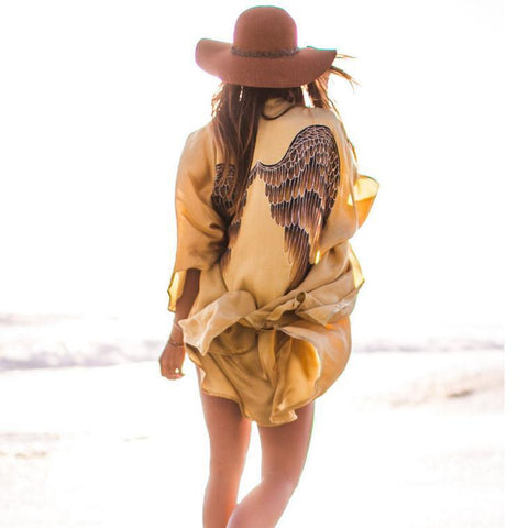 Wing Print Casual Loose Sexy Golden Coat Beach Cover Up Dress