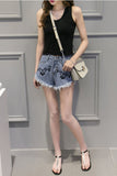 Print Pure Color Hole Embroidery Denim Loose Shorts