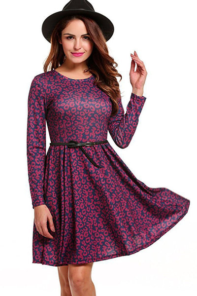 Floral Print Loose Scoop Neckline Short Dress
