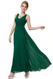 Pure Color Deep V-neck Backless Long Party Chiffon Dress